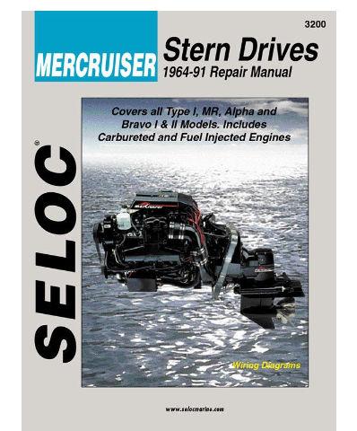 SELOC MERCRUISER STERN DRIVE MOTOR ENGINE REPAIR MANUAL 1964-91  SEL 3200